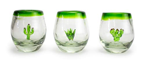 - MEXART Artisan Crafted Hand Blown Glass Three Amigos Green Rim Design Collection Recycled Glass Shots Glasses. Vodka, Whisky, Barrel Tequila Shots, 2 oz. 'Classic' (Set of 3)