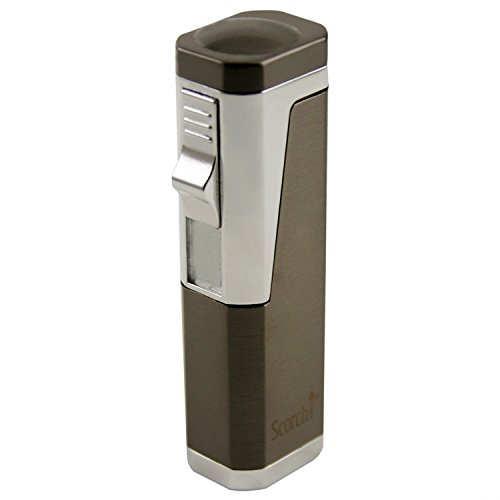 Scorch Torch Skyline Triple Jet Flame Butane Torch Cigar Lighter w/Punch Cutter Tool and Butane Window (Gunmetal)