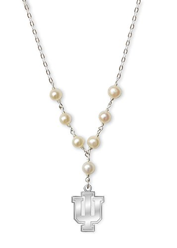 College Jewelry Indiana University Hoosiers Tin Cup Cultured Freshwater Pearl Charm Necklace