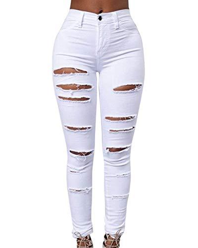 Ropa Skinny Jeans Color Damas Jeggings Cintura De Botón Vaqueros Boyfriend Bolsillos Pantalones Con Alta Sólido Lápiz Blanco Rasgados qA00UwW