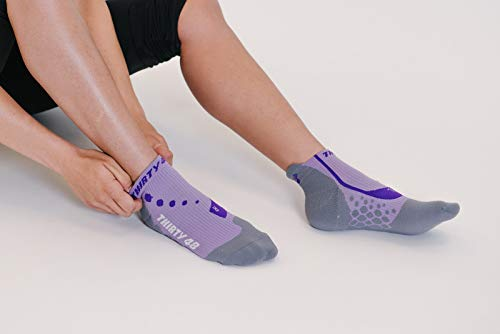 Thirty 48 Compression Low-Cut Running Socks for Men and Women (Small - Women 5-6.5 // Men 6-7.5, [1 Pair] Purple/Gray) by Thirty 48 (Image #6)
