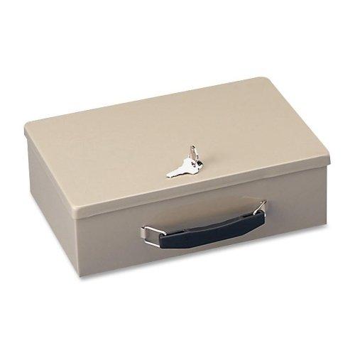 Security Box Insulated - SteelMaster 221614003 Heavy-Duty Steel Fire-Retardant Security Cash Box, Key Lock, Sand