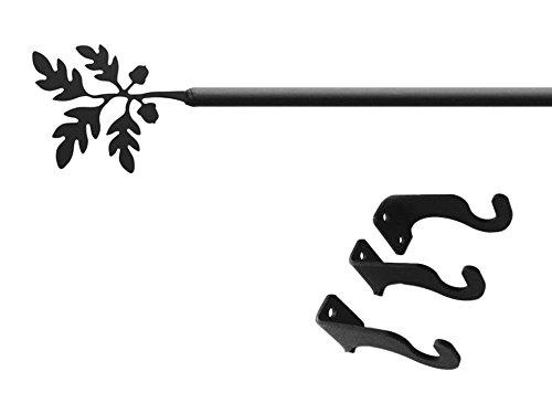 Iron Acorn Curtain Rod-Curtain Pole Only - Adjustable Curtain Rod Extends 61
