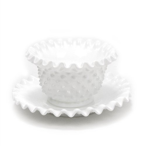 Hobnail Milk Glass by Fenton, Glass Mayonnaise Bowl, Underplate