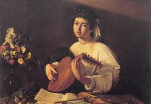 Musician Playing Lute Fine Art Canvas Print (20