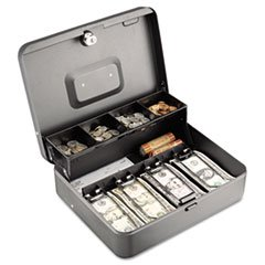** Tiered Cash Box with Bill Weights, 12 in, Cam Key Lock, Charcoal **