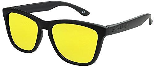 Vintage soleil unisexe mat 9 Nerd homme Rétro CRUZE® Lunettes Rétro jaune femme 012 Noir femmes hommes X miroir Style de polarisées vgwq7p