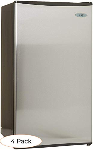 SPT RF-334SS Compact Refrigerator, 3.3 Cubic Feet, Stainless Steel, Energy Star (Pack 4)