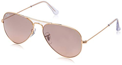 Ray-Ban RB3025 Aviator Sunglasses, Gold/Pink Mirror Gradient, 55 mm (Ray-ban Rb3025 55 Aviator)