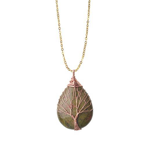 - ZHEPIN Unakite Vintage Tree of Life Wire Wrapped Copper Teardrop Natural Gemstones Pendant Necklace,with Gift Box