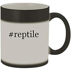 #reptile - 11oz Color Changing Hashtag Sturdy Ceramic Coffee Cup Mug, Matte Black