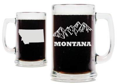 (Montana Mountains with State Silhouette 15oz. Beer Mug with Handle)