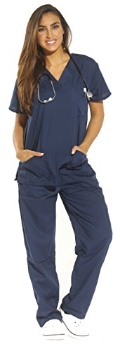 Just Love Women's Scrub Sets Six Pocket Medical Scrubs (V-Neck With Cargo Pant), Navy, 1X]()