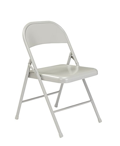 - (Pack of 4) Commercialine All-Steel Folding Chair, Grey