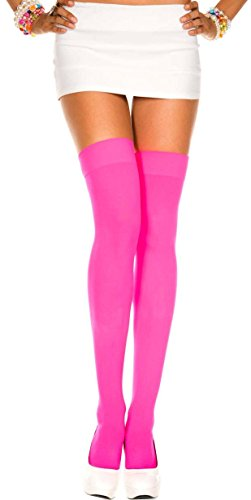 Women One Size, Neon Pink Opaque Thigh High