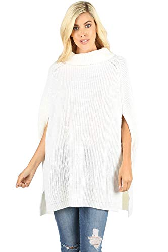 Women's Turtleneck Thick Warm Knitted Winter Shawl Cape Poncho Wrap Sweater-Ivory (X-Large)