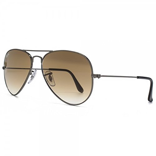 004 Authentic Gradient Gunmetal 3025 W 51 55mm Ray Shiny ban Rb3025 Aviator brown Sunglasses Small 00451 wwqUHzxZ