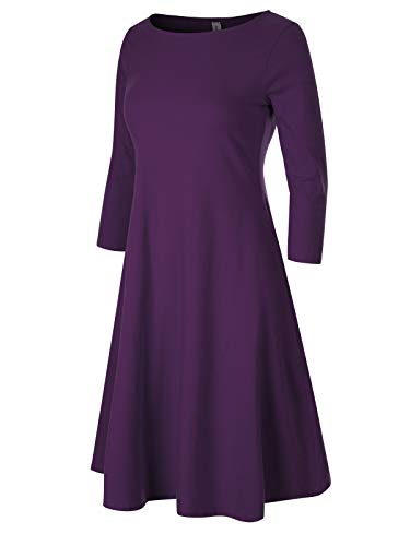 Flared Mini Sleeves Dress - Design by Olivia Women's Classic 3/4 Sleeve Round Hem Swing Flared Tunic Dress with Side Pockets Dark Purple S