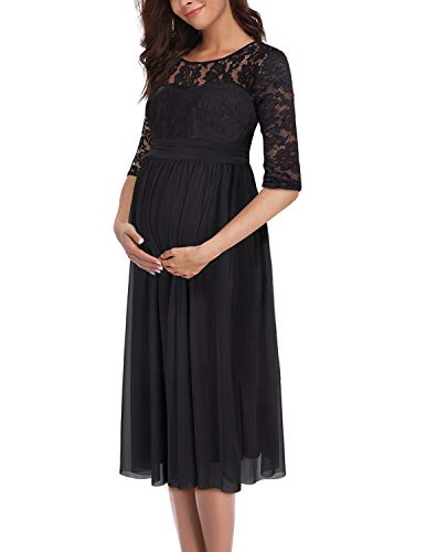 PRETTYLIFE Womens Floral Lace and Mesh Maternity Dress Flattering for Baby Shower Wedding Party (Black, Medium)