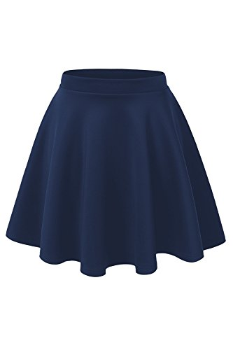 Women's Basic Solid Versatile Stretchy Swing Mini Skater Skirt (Large, Navy)]()
