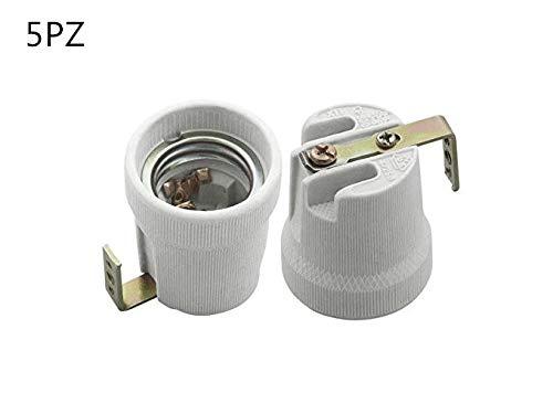 Plafoniere Per Lampade Led E27 : Set da 5 portalampade in ceramica attacco e27 con staffa esterna per