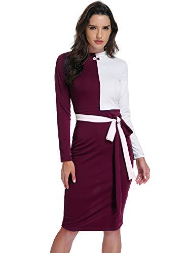 Womens Color Block Long Sleeve Slit Hem Belted Bodycon Midi Pencil Dress-Red-XL