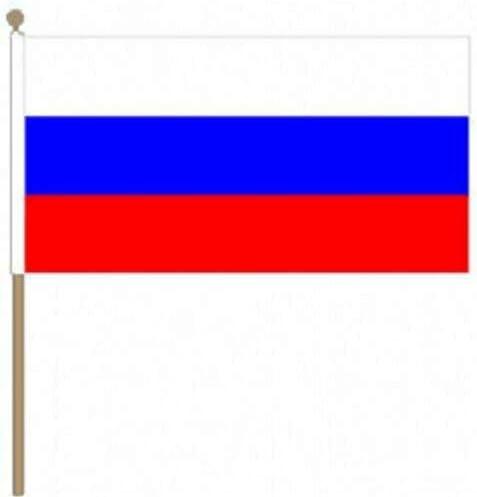 Flagmania® 12 Stück Russland 30,5 x 45,7 cm große Handwinkel-Flaggen + 59 mm Button Badge