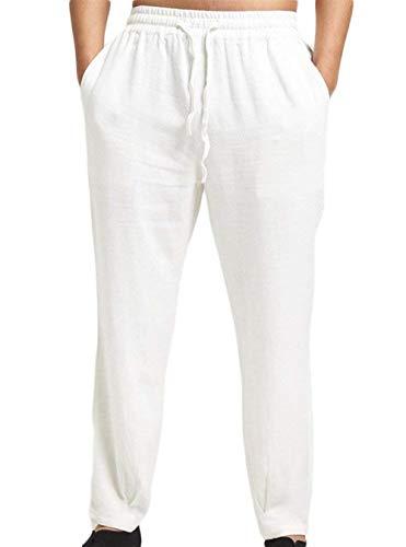 Simple Avec Automne Blanc Lin Pour En Hommes Printemps Décontracté Taille Pantalon Style Élastique Cordon Sport De Crystallly Lâche Jogging z07fqw