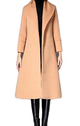 Summer Women's Premium Stylish Fit Mid Lapel Solid Woolen Trench Coat Light Tan S by SummerWomen