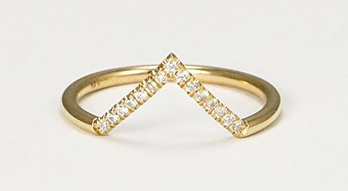 14k Yellow Gold V-Shaped Stack Ring with Diamonds (Gold Diamond Stack Ring)