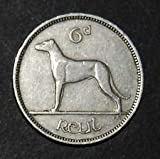 1949 Ireland Sixpence -- Irish Wolfhound  and  Celtic Harp -- Wedding Coin -- Luck of the Irish -- Only 600,000 Minted