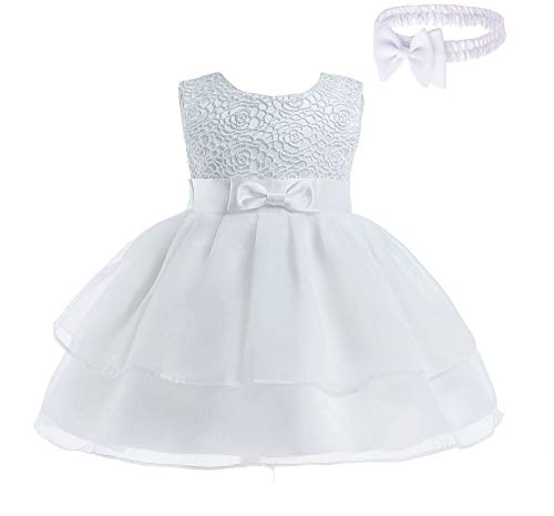 - Toddler Baby Girls Embroidered Christing Pageant Birthday Party Baptismal Dress with Headband,White,3M