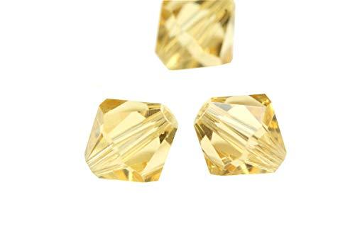 Austrian Cross Crystal - 100pcs 5mm Adabele Austrian Bicone Crystal Beads Gold Champagne Compatible with Swarovski Crystals Preciosa 5301/5328 SSB528