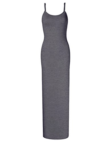 (GloryStar Women Sleeveless Spaghetti Strap Cami Maxi Slip Dress Gray)