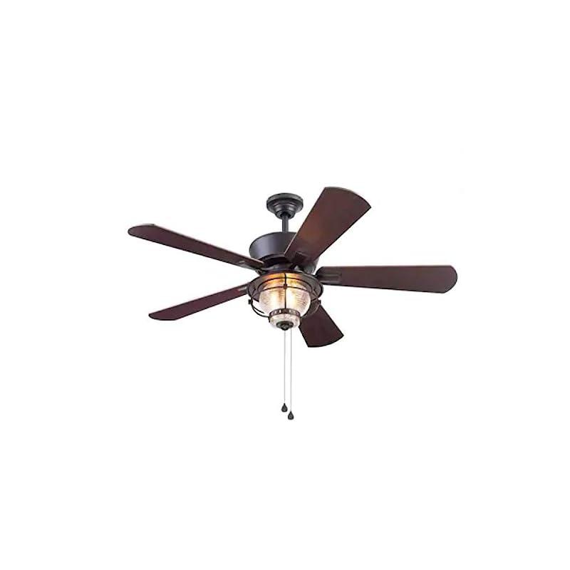 Harbor Breeze Merrimack II 52-in Matte Bronze LED Indoor/Outdoor Ceiling Fan with Light Kit (5-Blade)