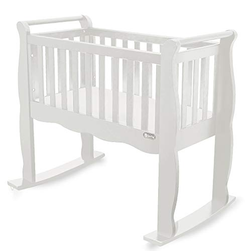 - Green Frog, Baby Cradle | Handcrafted Contemporary Wood Baby Cradle | Premium Pine Construction | Wheels, Rockers, and Stationary Options | White ...