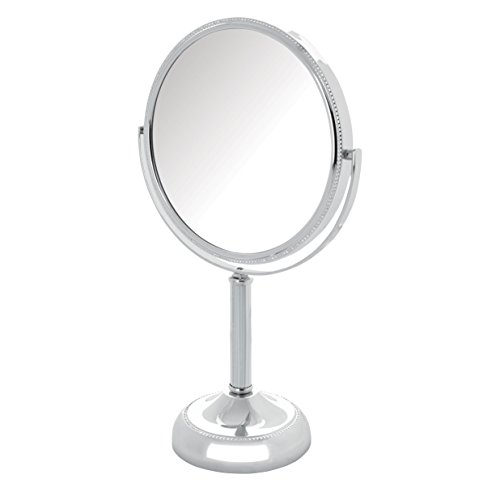 Jerdon JP910CB 1x and 10x Magnified Tabletop Swivel Vanity Mirror, 23.2 Ounce, Chrome Beaded -