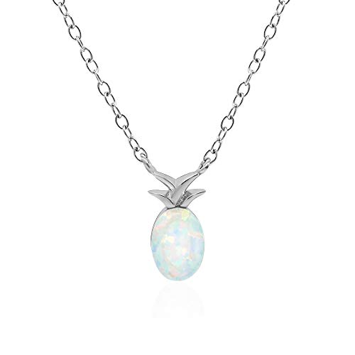 (Rhodium Plated 925 Sterling Silver Oval Synthetic Opal Dainty Pineapple Chain Necklace, 16