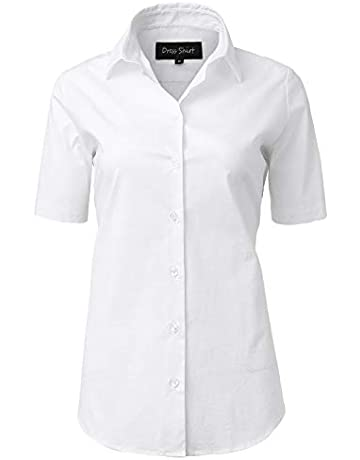 1f36485c INFLATION Blouses Shirts Women, Short Sleeve Button Down Ladies Blouse  Office Workwear Slim Shirt,