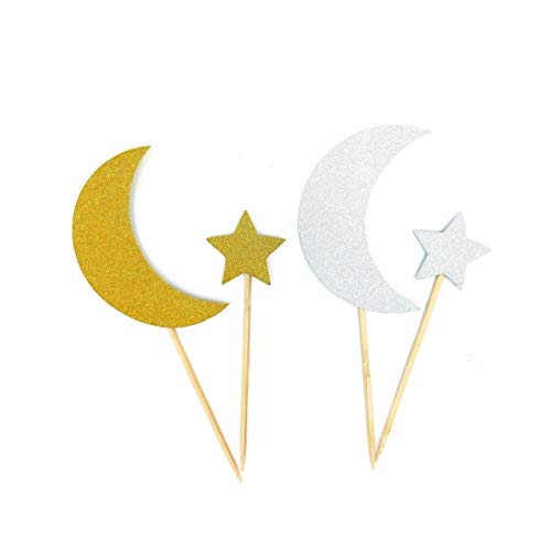 Moon Stars Decorations (Crescent Moon and Star Twinkle Twinkle Little Star Cupcake Toppers Cake Toppers Party Decoration DIY Shaped Baby Shower or Birthday Party)