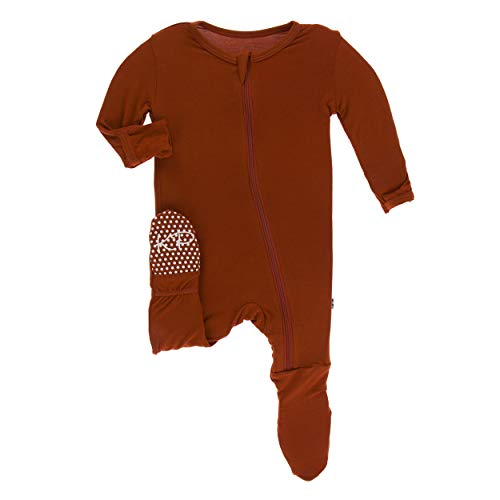 Kickee Pants Solid Footie with Zipper (Red Tea - 6-9 Months) (Snap Pajama Pant)
