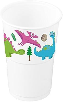 Vasos de plástico con decorado de Dinosaurios ideal para fiestas infantiles o cumpleaños - 250 cc - 8 unidades
