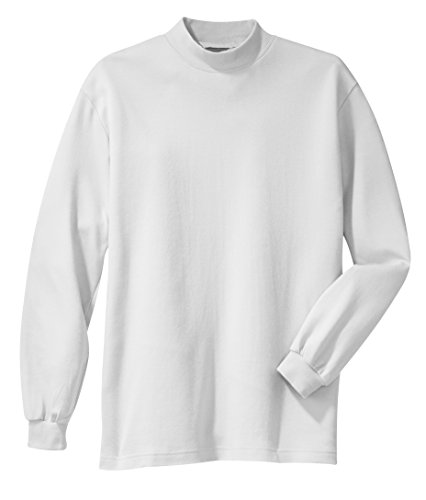 Cotton Mens Turtleneck Interlock (Gravity Threads Mens Interlock Mock Turtleneck - White - X-Large)