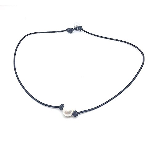 Bodai Handmade Genuine Leather Choker Necklace for Women Freshwater Pearl Jewelry (15, pearl)