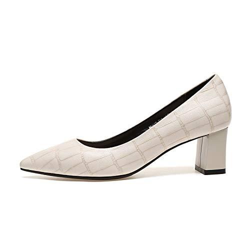 Cómodos Pulir Cuadros Tacones Puntiagudas Cuero Primavera Estaciones Mujer Cuatro Verano De Y A Zapatos Bombas Solos SaOxZa