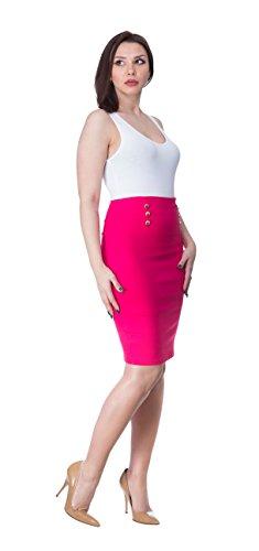 Women's Elegant Button-Detailed Pencil Skirt (Fushsia, Medium) Collection Women Skirts