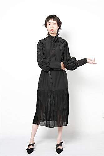 De Otoño Alto Falda Mujeres Mariposa Con Alta Sijux Manga Retro Bodycon Cinturón Black Vestido Cintura Larga Cuello gRqxxXw0