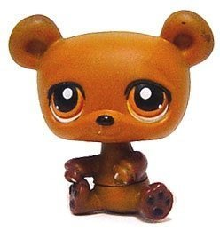 Littlest Pet Shop Baby Brown Bear # 395 (Brown With Orange Eyes) - LPS Loose Figures - Replacement Pets - LPS Collector Toy (Out Of Package/OOP)