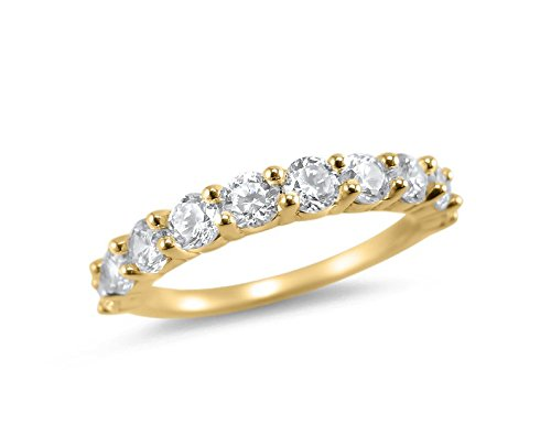 1 Carat 10 Stone half eternity moissanite wedding ring 14k Yellow gold band Charles and Colvard Forever ONE