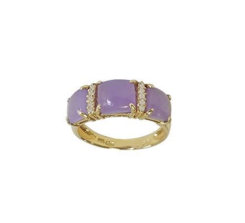 14k Yellow Gold Genuine Lavender Jade Ring with White Diamonds